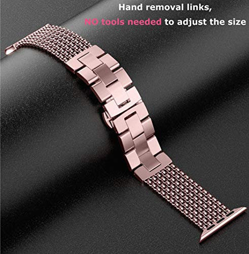 Wearlizer für Apple Watch Armband 38mm 40mm, Edelstahl Metall iWatch Straps Ersatzband Uhrenarmband Wristband Zubehör für Apple Watch Serie 4 / Serie 3 / Serie 2 / Serie 1 - Rose Gold