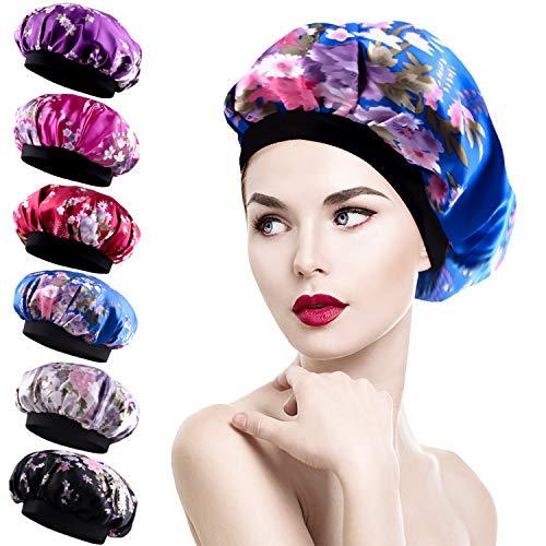 Duufin 6 Pcs Sleep Caps Satin Night Sleep Cap Bonnet Hair Loss Cap Salon Bonnet for Women 6 Colours