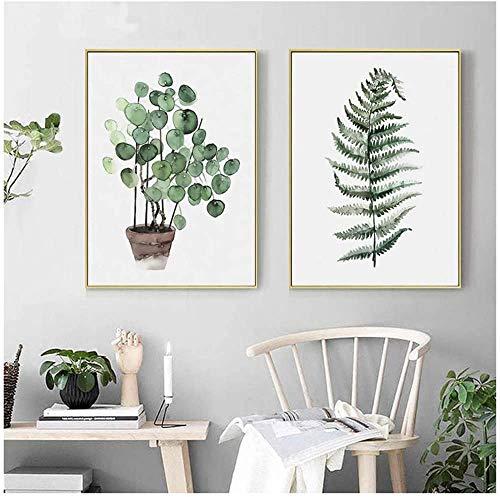Refosian acuarela planta hoja lienzo pintura nórdica pared arte impresión pintura imagen decoración del hogar 60x80 cm / 23,6x31,4 en sin marco