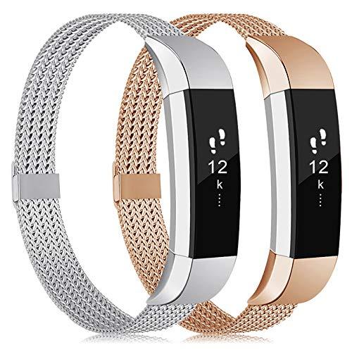 Tobheo Armband Kompatibel für Fitbit Alta Hr/Alta/Ace Armband Damen Herren Kinder, Metall Ersatzarmband Uhrenarmband Zubehör Band 2 Pack S
