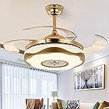 SXFYWYM Lámpara De Ventilador De Techo con Aspas De Ventilador Invisibles Estar Dormitorio Led Moderno Regulable con Control Remoto Lámpara De Iluminación