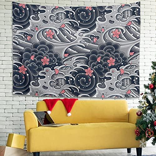 Wandlovers Tapiz de pared con ondas japonesas, Ukiyoe, místico, tapiz, funda para sofá, color blanco, 100 x 150 cm