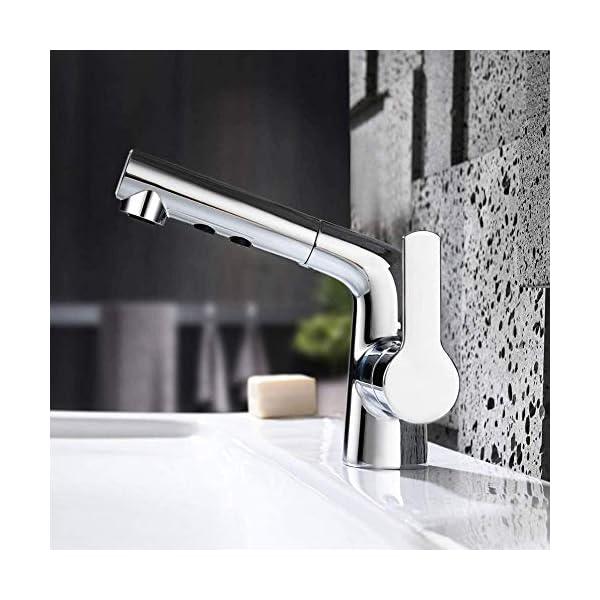 Grifo de baño de una manija Grifo de lavabo de tocador de baño Rotación de 360 ° Cobre puro Puede tirar alrededor de 60 CM Rango de limpieza Revestimiento de múltiples capas