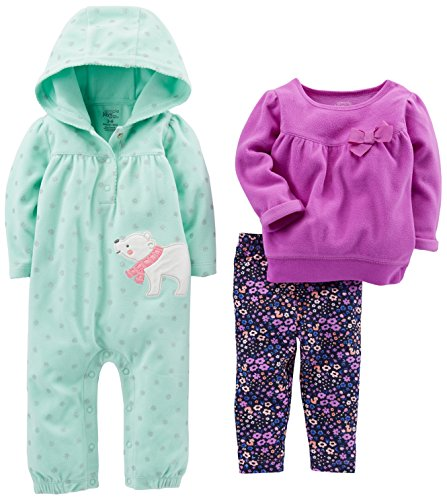 Simple Joys by Carter's Baby Girls' 3-Piece Playwear Set, Mint/Purple Kitty, 3-6 Months