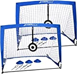 JOGENMAX Portable Soccer Goal, Pop Up Goal Nets with Aim Target,Set of 2, with Agility Training Cones,Led Lights and Carry Case Gift for Kids Teen Boy & Adults Size 4'X3'X3'
