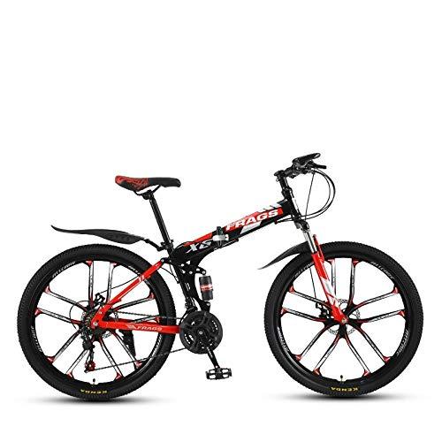 DGAGD Bicicleta de montaña de Velocidad Plegable de 24 Pulgadas Bicicleta de Diez Ruedas Masculina y Femenina-Rojo Negro_27 velocidades