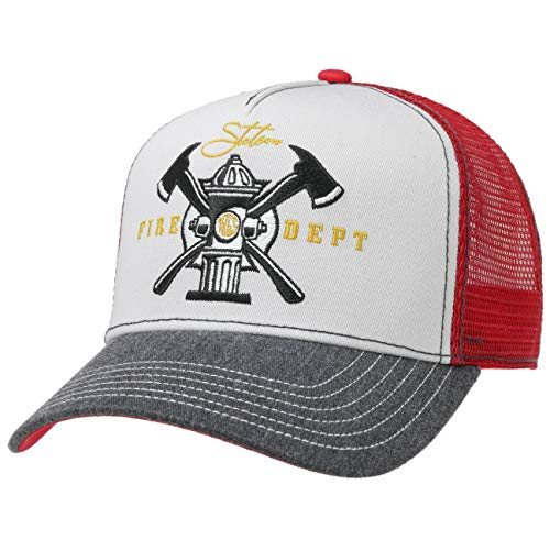Stetson Fire Dept. Trucker Cap Basecap Baseballcap Truckercap Meshcap Snapback Herren - Snapback, mit Schirm, Futter, Futter Frühling-Sommer Herbst-Winter - One Size grau-rot