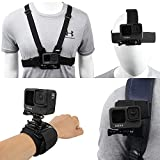 Accessories Set for GoPro Hero 10/9/8/7/6/5/4,New Quick Release Head Strap Mount + Chest Mount Harness + Backpack Clip Holder + 360°Rotating Wrist Strap