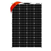 AUECOOR 100W高品質単結晶フレキシブルソーラーパネル ソーラーチャージャー太陽光発電パネル セミフレキシブル ポータブル バッテリーソーラー充電器 高変換効率 防水 RV 電池 ボート キャビン テントアウトドアなど MC4接続 Flexible Monocrystalline Solar Panel