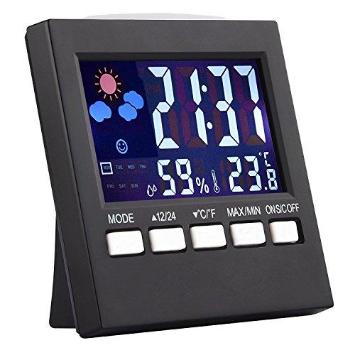 Haichen Thermomètre Moniteur LCD Moniteur d'Humidité Intérieur Affichage Numérique Electronique pour Maison et Bureau avec Réveil Calendrier Contrôle Vocal Rétroéclairage