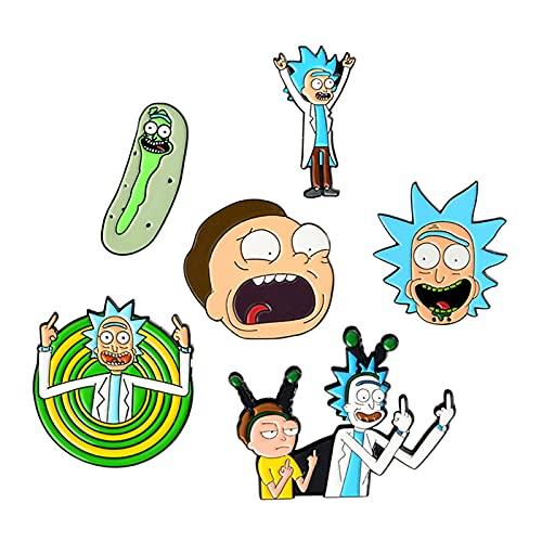 6 Stück Anime Rick and Morty Emaille-Broschen Abzeichen Schmuck Zubehör lustige Geschenke für Familie und Freunde