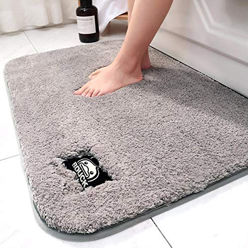 Szxin Mikrofaser-Duschvorleger Mikrofaser-Badvorleger mit hoher Dichte rutschfeste, wasserabsorbierende Badezimmervorleger Küchenvorleger Türvorleger Füße Mat-60x90cm_Gray