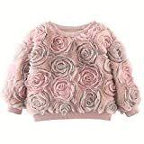 3D Rose Floral Pullover Sweaters for Girls Toddler & Kids II Girl's Novelty Sweaters