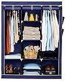 Amazon Brand - Solimo 3-Door Foldable Wardrobe, 8 Racks, Navy Blue