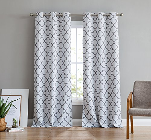 "HLC.ME Lattice Print Thermal Insulated Room Darkening Blackout Window Curtain Panels for Bedroom - Set of 2-37"" W x 84"" L - Platinum White & Grey"