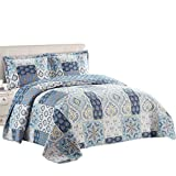 Royal Tradition Bellflower Blue Reversible Coverlets, Full/Queen Over-Sized 3pc Quilt Set (92-Inch Wide x 96-Inch Long) Lightweight Bedspread