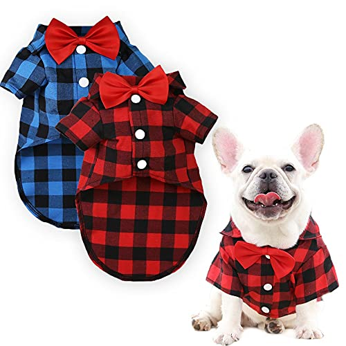 DaFuEn Dog Plaid Shirt with Bow Tie 2 Pieces - Dog Clothes for Small Medium Large Dogs Boy - Birthday Puppy Outfit for French Bulldog Dachshund Chihuahua Shitzu Male Dog Tshirt (Blue+Red, Small)