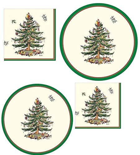 spxt72 Spode Christmas Tree Paper Plates & Napkins, 72 Pcs, Serves 16, TriColor Border