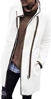 RkBaoye Women Long Sleeve Pocket Stylish Mid Long Zipper Velvet Outwear Coat