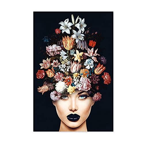 Scroll schilderij geschenk Posters en afdrukken van schoonheid met bloemen op het hoofd abstracte vrouw canvas schilderij afdrukken muur kunst fotos woonkamer muurschildering (kleur: Y353A, grootte (Inch) : 40x60 cm Geen frame)
