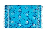 MANUMAR Damen Pareo blickdicht, Sarong Strandtuch in Blau mit Sonnen Motiv, 175x115cm, Handtuch Sommer Kleid im Hippie Look, Sauna Hamam Lunghi Bikini Coverup Strandkleid