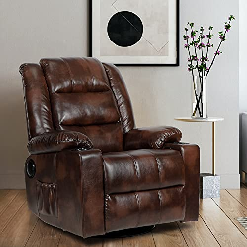ComHoma Massage Recliner Chair with Speaker Pu Leather Home Theater Recliner Chair with Heat Rocker Recliner with Heated Massage Ergonomic Lounge Swivel Cup Holder for Living Room Brown