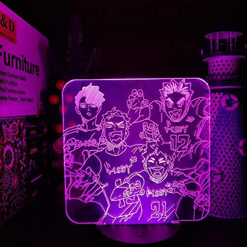 HAIKYUU MSBY TEAM Hinata Miya Sakusa Bokuto LED ANIME LAMP Nachtlichter Lampara Farbwechsel für Schlafzimmerdekoration-Black Base keine Fernbedienung