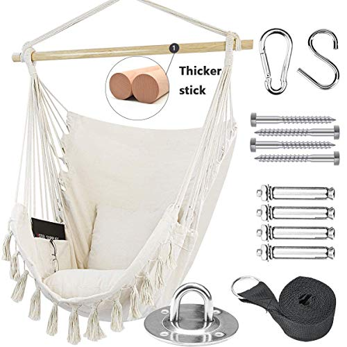 Tintonlife Hammock Chair Swing with Hanging Hardware Kits, Cotton Canvas Hammock Hanging Chair, Include 2 Cushions +Side Pocket + Rope + Carrying Bag, for Indoor Outdoor, Max Weight 330 Lbs(White)…