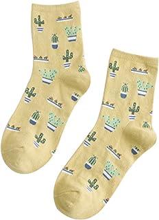 1 par Moda Llanura pequeña Fresca Cactus algodón Tubo de Las Mujeres Calcetines de algodón Calcetines de otoño Invierno Amarillo