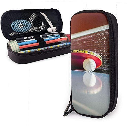 PU Leder Federmäppchen mit Reißverschluss, Tischtennis Figur Stifthalter, Kosmetik Make-up Tasche, Schreibwaren Veranstalter Bleistiftbeutel
