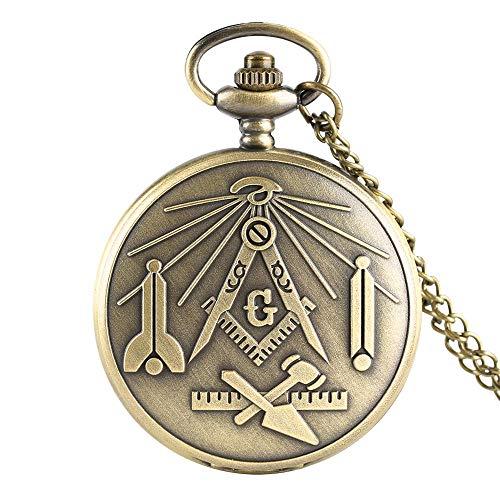 Revilium Antikes Freimaurer Zifferblatt Chrom Quadrat Und Kompass Freimaurer Freimaurer Halskette Anhänger Quarz Taschenuhr Freimaurer