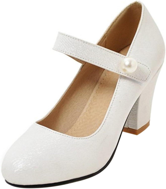 Cular Acci Women Solid Block Heel Pumps Velcro