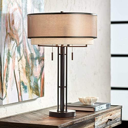 Andes Farmhouse Industrial Modern Table Lamp Dark Oil Rubbed Bronze Brown Metal Tan Double Shade product image