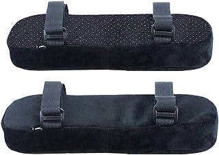 HEALIFTY Fundas para reposabrazos de silla de oficina y juegos, 2 unidades, espuma viscoelástica, almohadillas para reposabrazos de silla, almohadillas para reposabrazos ultrasuaves con correa (negro)