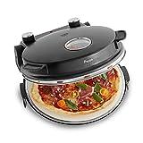 Pizzaofen Peppo 1200W, Pizzamaker, Minibackofen elektrisch für Pizza & Brot 350°C, Timer & Signallampe, inkl. Emaille-Bratpfanne & 2 großen Pizzawendern + Gratis Rezept (PDF) - schwarz