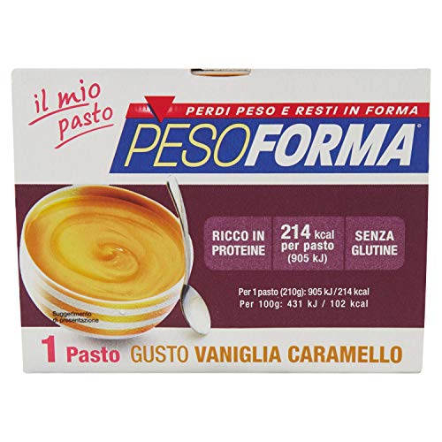Pesoforma Coppa Vaniglia Caramello - Pasto sostitutivo dimagrante senza glutine - 1 pasto ricco in proteine - 208 Kcal