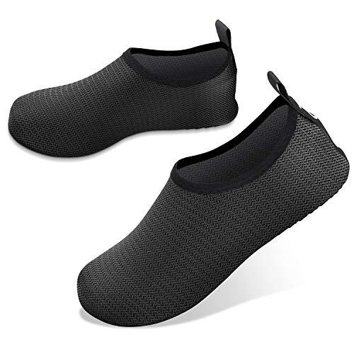 JOTO Wasserschuhe für Damen Herren Kinder, Unisex Badeschuhe Strandschuhe Quick-Dry Schnelltrockend Aquaschuhe Schwimmschuhe Surfschuhe Barfuß Schuhe –Schwarz