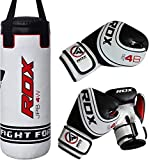 RDX Kids Punching Bag Filled Set Junior Kick Boxing Heavy MMA Training Youth Gloves Punch Mitts Hanging Chain Ceiling Muay Thai Martial Arts 2FT