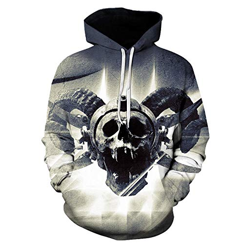 Boys Girls Hoodie 3D Print Abstract Gray Skull with Horns Cool Lightweight Pullover Sweatshirts Hooded Jumpers Unisex Outdoor Hoodies -M