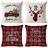 Weihnachten Kissenbezug 4 Pack, Weihnachtsbaum Schneeflocke Rentier Wohnkultur Leinen Dekokissen Cases Xmas Holiday Farmhouse Home Schlafzimmer Dekokissen