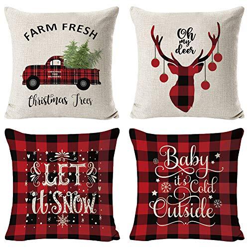 Set de 4 Fundas Navideñas para Cojines, Árbol de Navidad Reno del Copo de Nieve Decoración para el Hogar Fundas de Almohada de Lino Funda de Almohada Decorativa de Navidad Casa, 17.7 Pulgadas Style A