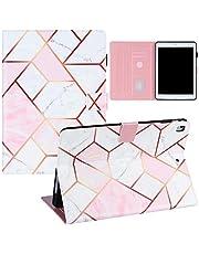 FHXD Funda Compatible iPad 9.7 Pulgadas 2018/2017(6th/5th Generation) Marmoleado Geométrico Diseño Prima PU Cuero Caso con Portalápices y Auto-Sueño/Estela-Rosa Blanco