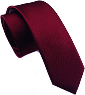 Elviros Mens Classic Solid Color Slim Tie, Skinny Woven Thin Ties, Eco-friendly Fashion Boys Neckties