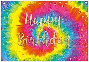 Allenjoy 5x3ft Colorful Spiral Background for Tie Dye Birthday Party Backdrop Kids Girls Rainbow Theme Happy Bady Decoration 60s 70s Hippie Groovy Banner Supplies Cake Table Favors Photo Shoot Props