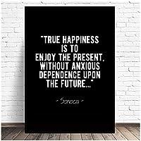 抽象的な真の幸福ストイック引用キャンバス絵画壁アート写真プリント家の装飾壁ポスターリビングルームの装飾-11x14インチ(28X36cm)フレームなし