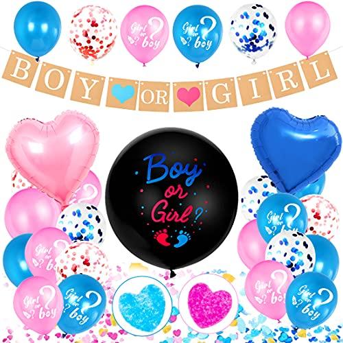 Aurasky Decoración de Fiesta Baby Shower Gender Reveal,Baby Shower Decoraciones niños,Pancarta de Niño o Niña,Globos para niña o niño,Confeti Globos de Látex Azul Rosa,Baby Shower Party