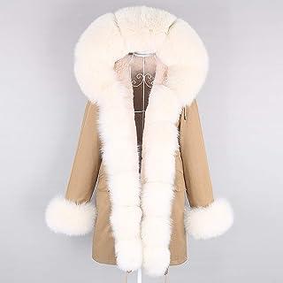 JNXFUZMG Chaqueta de invierno 2020 para mujer, larga, color negro, blanco, natural, cuello grande, casual, ropa exterior p...