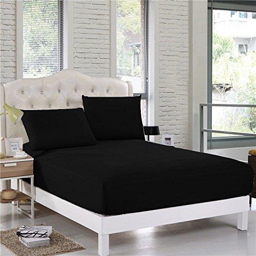 Comfort Beddings Sábana bajera ajustable extra profunda de 40 cm de profundidad de 600 hilos, 100% algodón egipcio, color negro, supersuave, hipoalergénico (doble, negro)