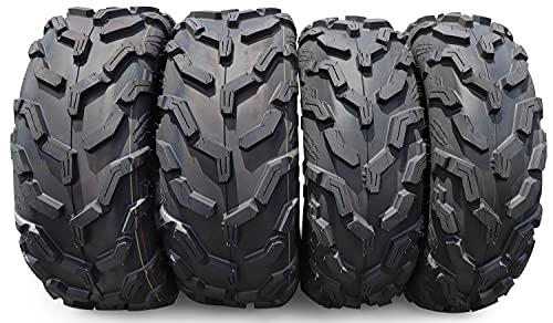Full Set New Premium HALBERD 6PR ATV/UTV Tires, 25x8-12 Front & 25x10-12 Rear, All Terrain 15mm Tread Depth 25x8x12 25x10x12 Trail Sand Off-Road Tires - HU02