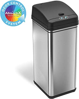 iTouchless 13 Gallon Stainless Steel Automatic Trash Can with Odor-Absorbing Filter, Wide..